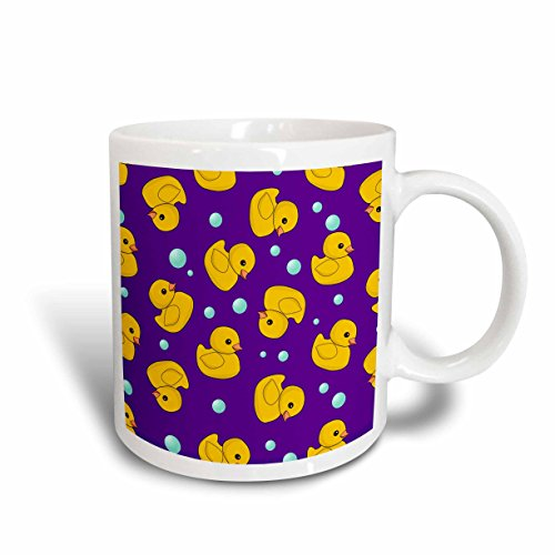 3dRose mug_193780_1 Cute Rubber Ducky Pattern on Dark Purple-Y Blue Yellow Ducks Duckies Ceramic Mug, 11-Ounce ()