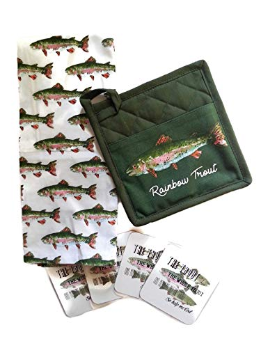Lake House Hunting Fishing Lodge Rainbow Trout Kitchen Towel, Potholder and Drink Coaster Set