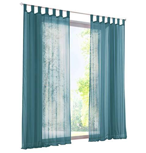 1Pièce Rideau Voilage LxH/140x145cm Couleur Uni Bleu Rideaux à Pattes  Décoration de Fenêtre Chambre / Salon / Balcon