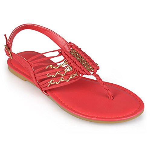 Brinley Co. Womens Sling-back T-strap Sandals Red 10 M US