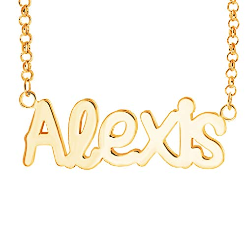 Fujin Personalized Necklace Custom Name Nameplate Pendant Necklace for Women in Silver -Gift to The One (Alexis in Gold) ()