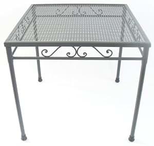 Mesa cuadrada de hierro forjado x 80h76 mesas muebles exterior jard n - Amazon mesas de jardin ...