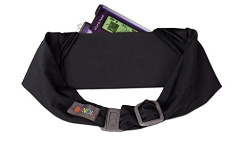 BANDI Unisex Secure Pocket Belt Storage with Adjustable Straps for Small Medical Devices or Snacks, Kid's Size (Black Solid)