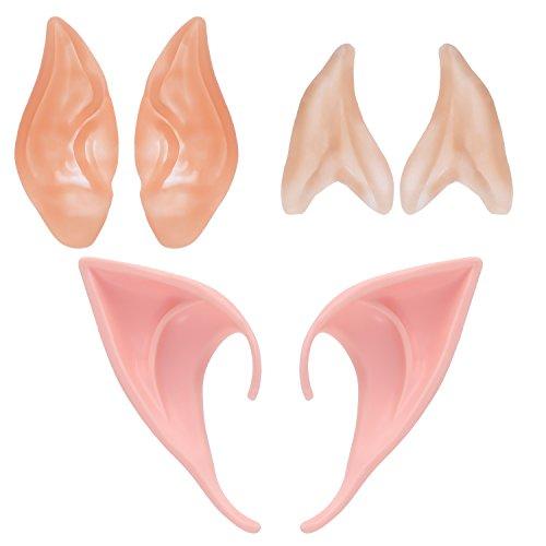 BBTO 3 Pairs Elf Ears Cosplay Masks Ears Fairy Goblin (Glue On Latex Halloween Masks)
