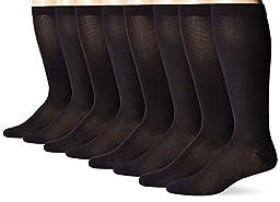 MediPEDS Men\'s 4 Pack Mild Compression Over The Calf Socks, Black, Shoe Size: 9-12