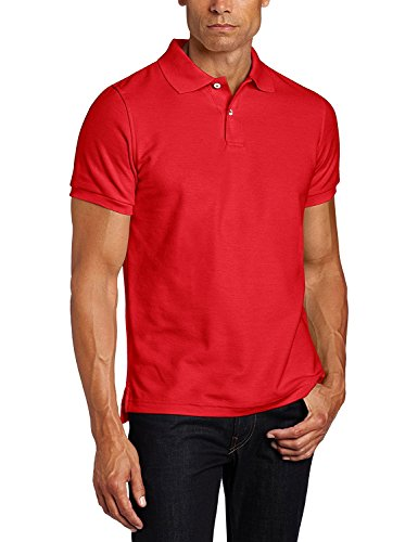 (Lee Uniforms Men's Modern Fit Short Sleeve Polo Shirt, Red Large )