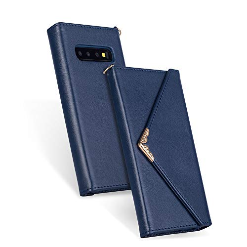 (Shinyzone Soft Leather Case for Samsung Galaxy S10,Envelope Style Woman Wallet Case with Credit Card ID Slots,Flip Folio Magnet Cover with Hand Strap Detachable,Blue)
