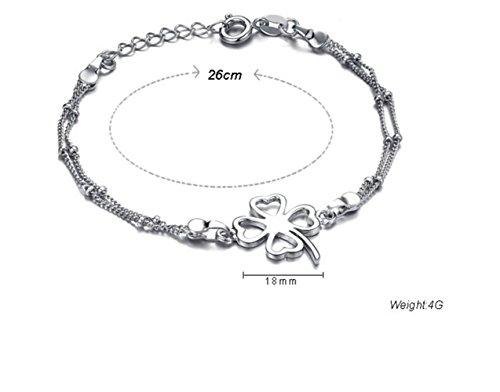 Gudeke Bijoux Fashion Simple Femmes Argent Chanceux Trèfle à quatre feuilles Perle Anklet Bracelet Barefoot Beach Pied