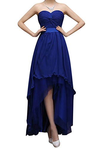 Bess Bridal Women's High Low Lace Up Chiffon Prom Bridesmaid Party Dresses US8 Royal Blue (Blue Formal High Low Dress)