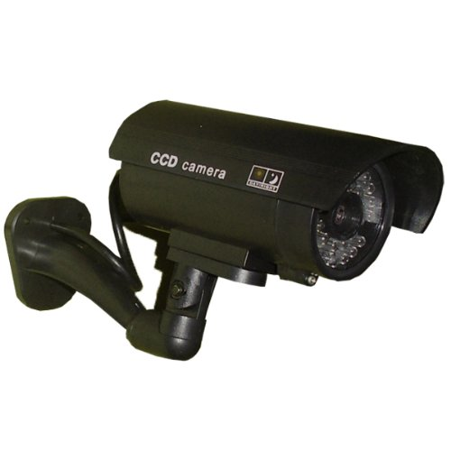 JYtrend (TM) Outdoor Dummy Fake Security Camera with Inflared Leds BLINKING LIGHT, Black