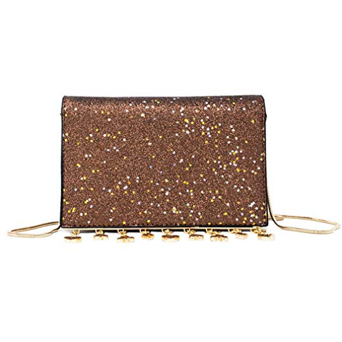 604f6883f4f5 Cujubag Women Sequined Shoulder Bag Lady Chain Messenger Bags Coffee  19x13x5cm