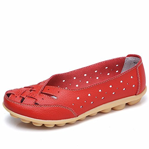 LINGTOM Women Moccasin Shoes Driving Genuine Leather Casual Slip-On Flat Loafers Shoes Red DcYbY