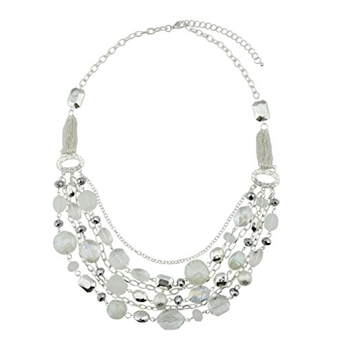 Bocar Newest Multi Layer Chain Crystal Colored Glaze Statement Women Necklace (NK-10061-White)