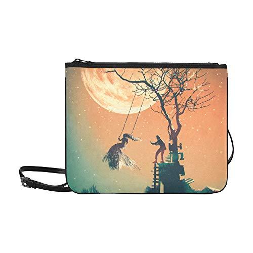 Halloween Full Moon Man Pushing Woman Pattern Custom High-grade Nylon Slim Clutch Bag Cross-body Bag Shoulder Bag -