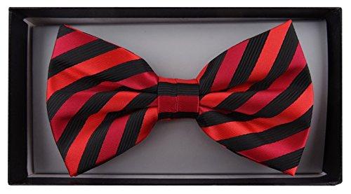 TigerTie Nœud papillon en rouge noir rayé + boîte - Nœud papillon 30 - 50 cm réglable
