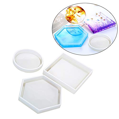 Silicone Molds for Ashtray Cup Tray Making Large Resin Silicone Molds Diyhome Desktop Decoration Handmade Craft Includes Round Square Hexagon (One Set)