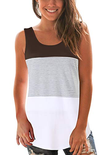 (SMALOVY Women Summer Casual Tank Top Color Block Striped Tees Coffee S)