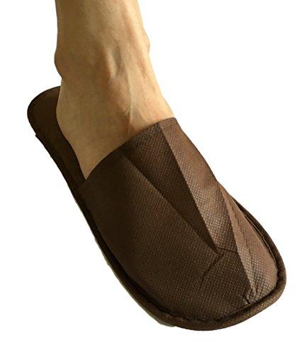 25 Paar Vlies Gäste Slipper Pantoffeln Patschen Schuhe UNIVERSAL Größe - Farbe wählbar (Weiss) Braun