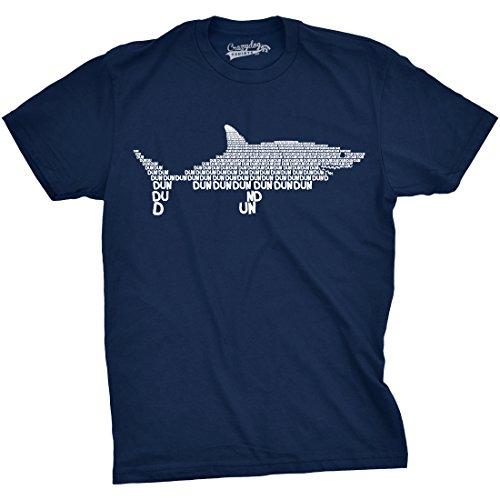Mens Dun Dun Shark Theme T-Shirt Cool Graphic Great White Music Text Tee (Blue) - L