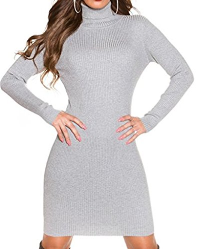 figurbetontes koucla Cuello Alto vestido de punto para–canalé Mini vestido Long–Sudadera para hombre gris