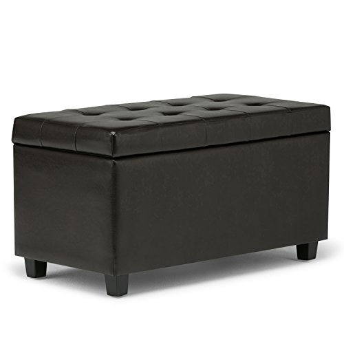 Simpli Home Cosmopolitan Faux Leather Rectangular Storage Ottoman Bench, Brown Brown Leather Storage Bench Ottoman