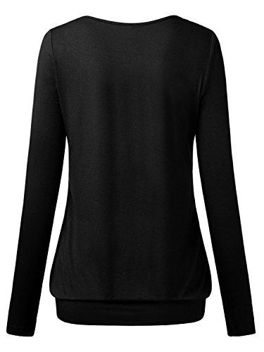 DJT-Camiseta de Punto para Mujer Escote V Mangas Largas Negro