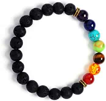 Vitality Extracts - 7 Chakra Lava Stone Diffuser Bracelet - meditation, grounding, healing, genuine stones, natural, essential oils, self confidence, holistic, aromatherapy