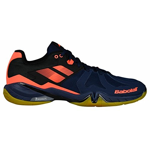 Babolat 2018 Shadow Spirit Men's Shoe, Badminton/Racquetball/Squash/Indoor Tennis – Navy Blue/Fluo Orange – DiZiSports Store