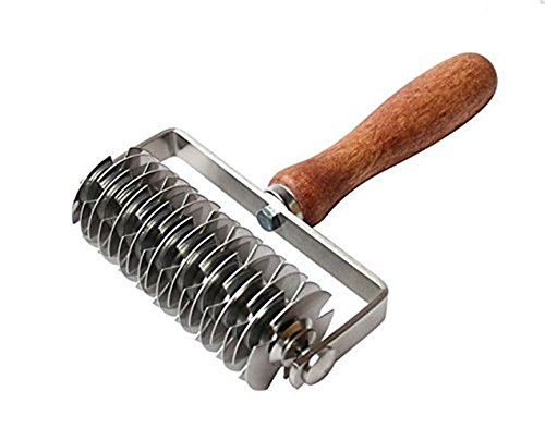 K-Steel Dough Lattice Top Cookie Pie Pizza Bread Pastry Crust Roller Cutter,Wood handle,Stainless Steel by K-Steel