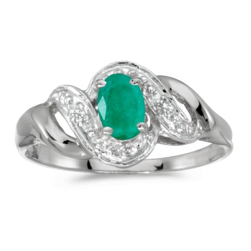 White Gold 6x4mm Oval Emerald - 8