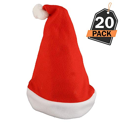 20 Piece Santa Hat Set, Popular Christmas Costume and Accessory, Classic Red Santa Hats