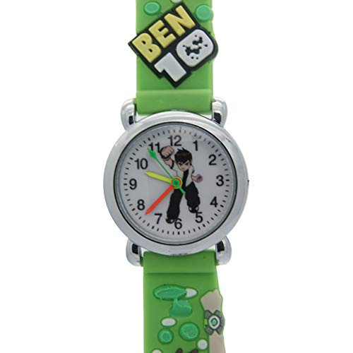 (Top Ben 10 Kids 3D Cartoon Green Rubber Band Stainless Steel Case Water Resistant Quartz Watches)