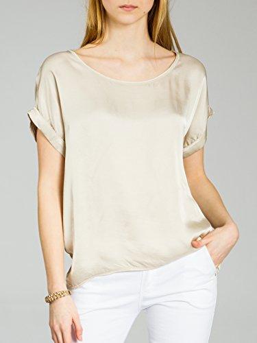 Fashion Dos Beige lgante Femme CASPAR Lgre avec en en Soie Soie Blouse Viscose en T BLU017 Manches Shirt Caspar Et Courtes pour d181U