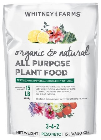 Whitney Farms 10101-10027 15 Lb Organic & Natural All Purpose Plant Food 3-4-2
