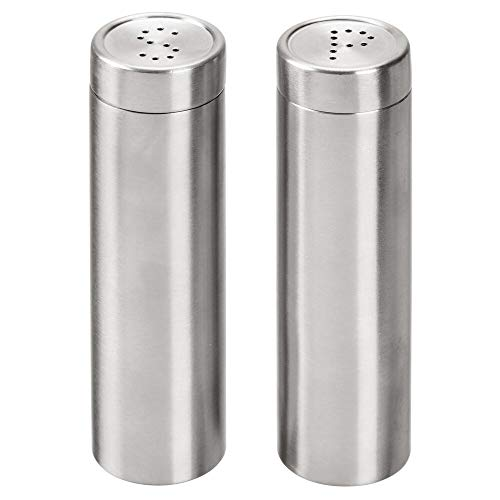 mDesign Modern, Slim Salt and Pepper Shakers - Nesting Lid with Circular S & P Holes; Great for Fine Table Salt and Pepper; Set of 2 - Brushed Stainless Steel