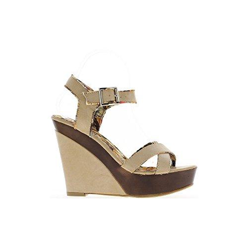 Sandales compensées femme beiges talon 12,5cm et plateau avant