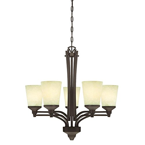 Westinghouse 6307100 Malvern Five-Light Indoor Chandelier, Oil Rubbed Bronze Finish with Smoldering Scavo Glass