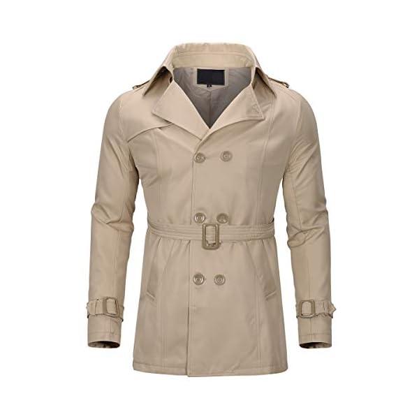 Trench Coat Homme Long Manteau Homme Hiver Pardessus Double Boutonnage Parka Veste Classiquee