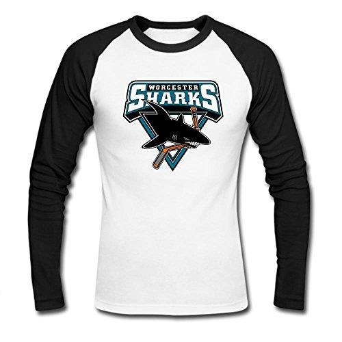 Men's Plain long sleeve Tee Worcester sharks Raglan T shirt XL Black ()