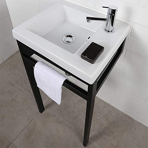 Wall-mount, vanity top or self-rimming porcelain Bathroom Sink with an overflow. No faucet holes. W: 15 3/4