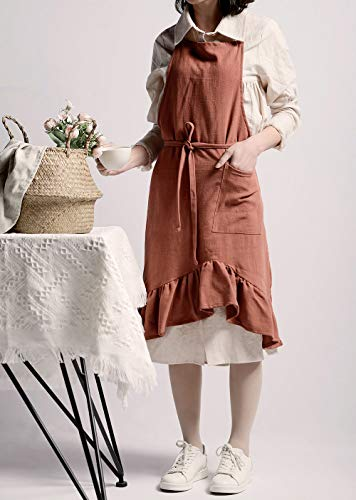WvvTee Literary Coffee Shop Bar Women Girls Slim Apron,Cotton and Linen, with Butterfly Tail, for Florist Crafting Cafe Cake Shop Servers Waitress (Shop Butterfly)