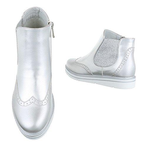Ital-Design Women's Chelsea Boots Silber AKSOLv8DCf