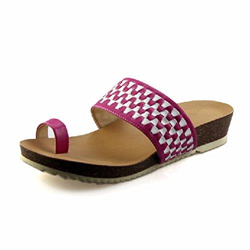 YMFIE Verano Ocio Puntera PU Damas Moda Cool Zapatillas Zapatos A