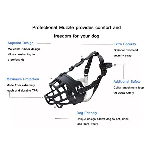 delicate Silicone Basket Dog Muzzles, Breathable and Adjustable, Allows Drinking, Panting, and Eating