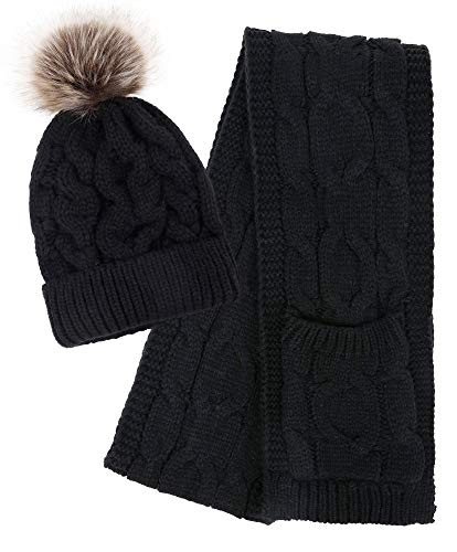 - Simplicity 2 Piece Winter Set Women Soft Cable Knit Pom Beanie Hat Scarf, Black