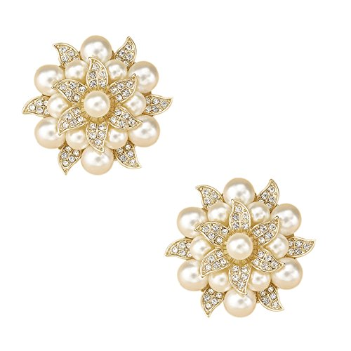 L'vow Crystal Pearl Clothes Dress Sweater Hat Brooch Shoes Clip Wedding Decoration Pack of 2 (gold)