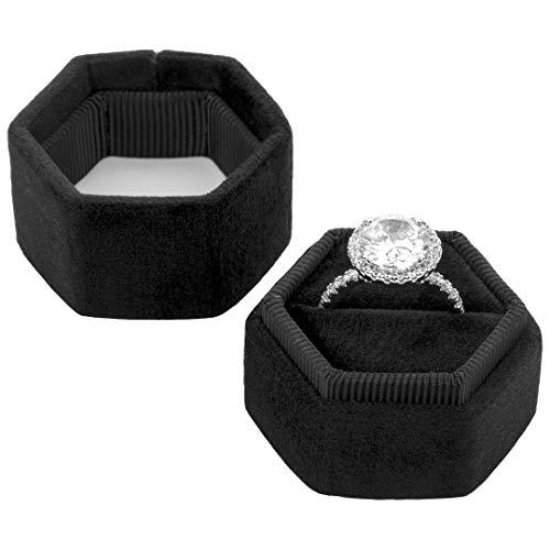 Wide Ring Box - Koyal Wholesale Velvet Ring Box, Hexagon Vintage Wedding Ceremony Ring Box with Detachable Lid, 2 Piece Engagement Ring Box Holder, Modern Proposal Idea (Black)