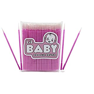 Baby Boogie and Eye Gookie Brushes, Felt Tip Mini Brushes Get in Hard to Reach Places and Clean Earwax, Boogies, and Gookies Easily (100 Pack) Pink