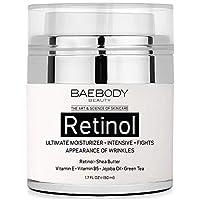 Crema hidratante de retinol Baebody para el área de la cara y los ojos: con retinol, aceite de jojoba, vitamina E. Combate la aparición de arrugas, líneas finas. La mejor crema de día y noche 1.7 fl. Onz.
