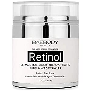 Baebody Retinol Moisturizer Cream for Face and Eye Area – With Retinol, Jojoba Oil, Vitamin E. Fights the Appearance of Wrinkles, Fine Lines. Best Day and Night Cream 1.7 Fl. Oz
